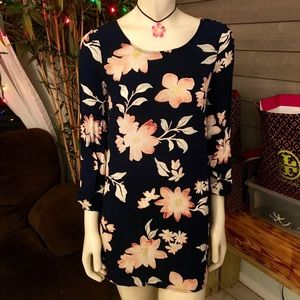 Billabong Black & Pink Floral L/S Mini Dress XS